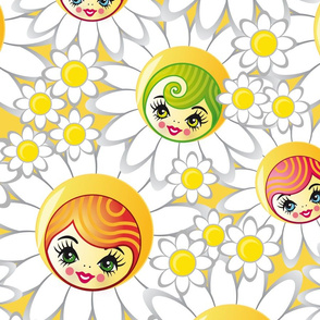 Sunshine Flower Doll Faces Boho Pattern