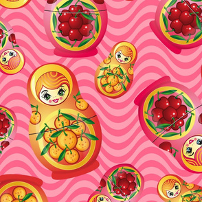Pink Russian Dolls Pattern with Cherries