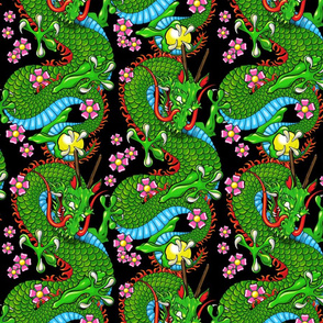Green Tattoo Dragon with Cherry Blossoms