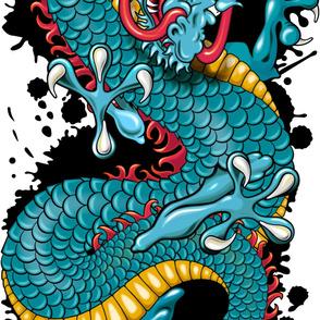 Blue Splash Dragon Grunge