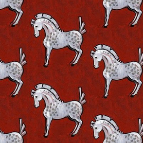 Red Gypsy Horse Pattern on Canvas