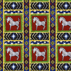 Red Russian Inspired Gypsy Horse Pattern