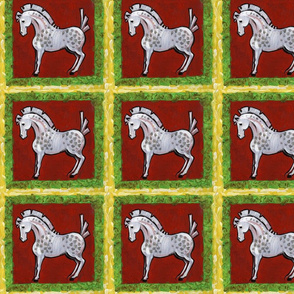 Red and Green Horse Pattern