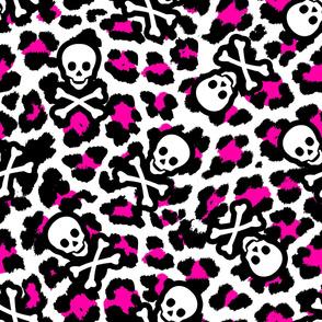 Pirate Skulls Leopard Print in Pink