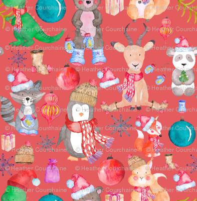 Winter Animals on Light Red