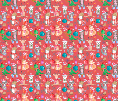 Winter Animals on Light Red fabric by greenmountainfabric on Spoonflower - custom fabric