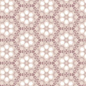 White stylized flowers in beige hexagons