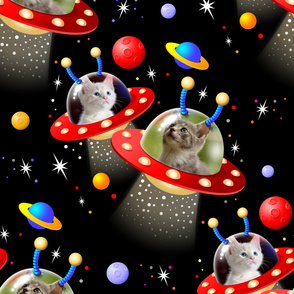 Cats in UFOs Sci Fi Pattern