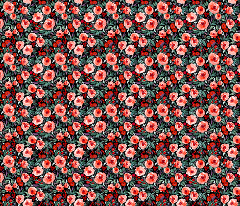 Indy bloom Design Winter berry blossom Black B fabric by indybloomdesign on Spoonflower - custom fabric