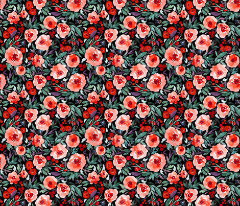 Indy bloom Design Winter berry blossom Black C fabric by indybloomdesign on Spoonflower - custom fabric