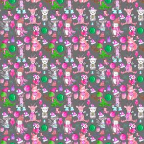 PINK Winter Animals on Grey