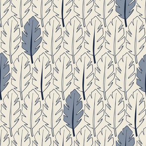Leaves - Blue, Cream