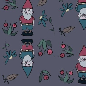purple garden gnomes with flowers and pinecones