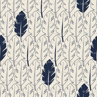 Leaves - Indigo, Cream