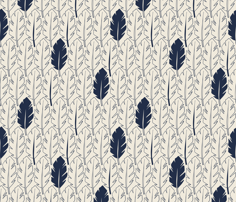 Leaves - Indigo, Cream fabric by fernlesliestudio on Spoonflower - custom fabric