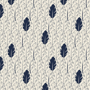 Leaves - Indigo, Cream