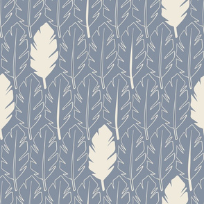 Leaves - Cream, Blue
