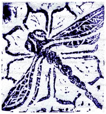 Dragonfly blockprint - mirrored