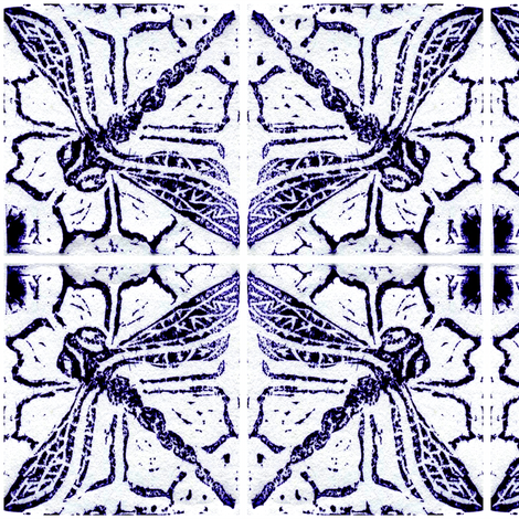Dragonfly blockprint - mirrored fabric by cloudsong_art on Spoonflower - custom fabric
