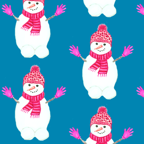 snowman hugs, holiday watercolor // snow days fabric by magentarosedesigns on Spoonflower - custom fabric