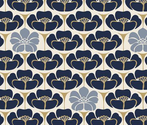 Floral-  Blue, Cream fabric by fernlesliestudio on Spoonflower - custom fabric