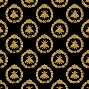 Napoleonic Bees ~ Queen Bee ~ Faux Gilt on  Black