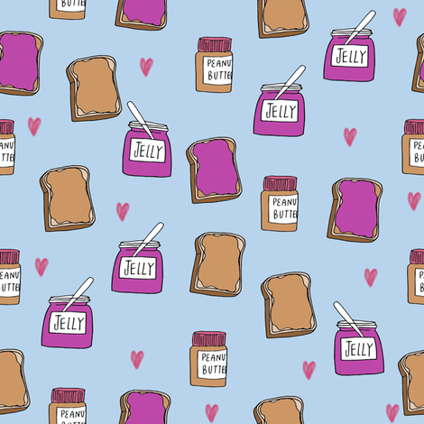pbj // peanut butter and jelly fun kids foods fabric white purple fabric by andrea_lauren on Spoonflower - custom fabric