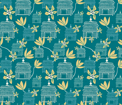 La Volière - Vintage Birdcages Teal fabric by heatherdutton on Spoonflower - custom fabric