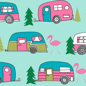 LARGE vintage camper// mint and pink vintage campervan fabric cute retro flamingo pattern print andrea lauren design