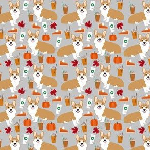 SMALL - corgi pumpkin spice latte - coffee, latte, corgi, corgis, pumpkin spice, dog dogs - grey
