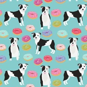 SMALL - pitbull and donuts fabric cute pastel donut design  - light blue
