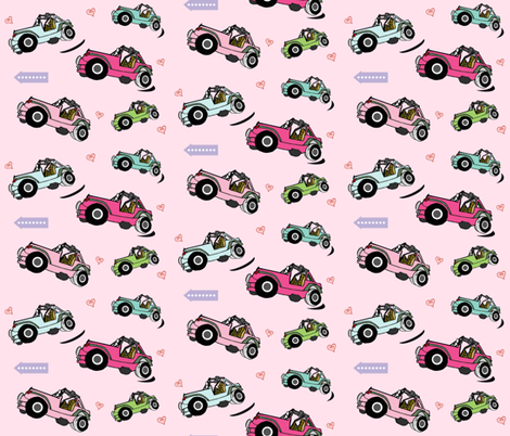 cruisin girly jeeps- MED7 light pink fabric by drapestudio on Spoonflower - custom fabric
