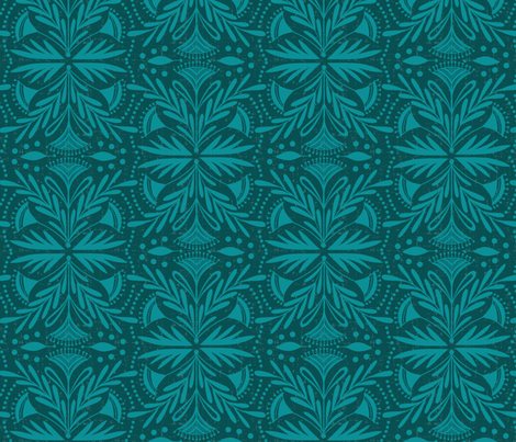 Lenox - Damask Dark Teal Tonal  fabric by heatherdutton on Spoonflower - custom fabric