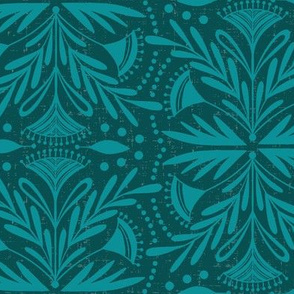 Lenox - Damask Dark Teal Tonal