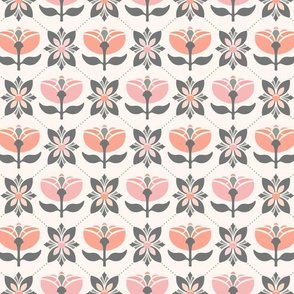 Retro Deco Graphic Flower Diamonds