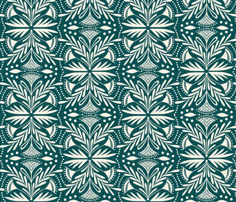 Lenox - Damask Dark Teal fabric by heatherdutton on Spoonflower - custom fabric