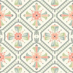 Retro Deco Flower Tiles Light Mix