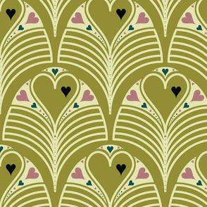 Heart Deco on Olive
