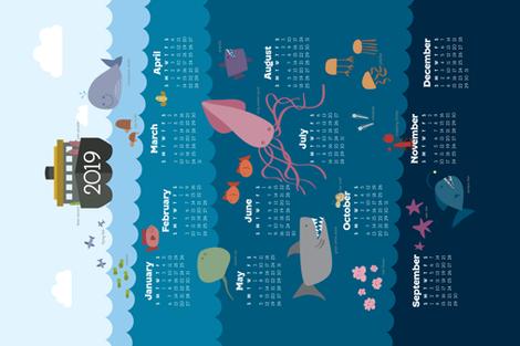 2019 Calendar Layers of the Sea Tea Towel fabric by lindawang on Spoonflower - custom fabric