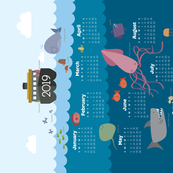 2019 Calendar Layers of the Sea Tea Towel