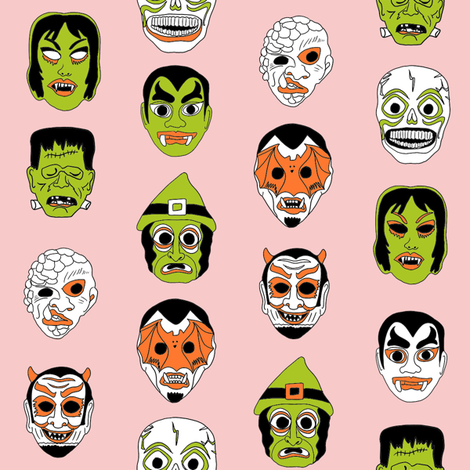 halloween masks // halloween black and orange, scary, spooky, - peach fabric by andrea_lauren on Spoonflower - custom fabric