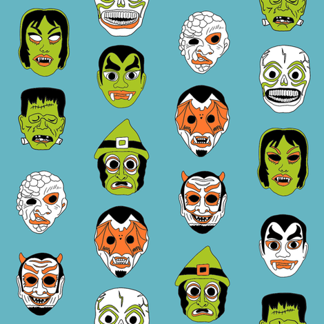 halloween masks // halloween black and orange, scary, spooky, - blue fabric by andrea_lauren on Spoonflower - custom fabric