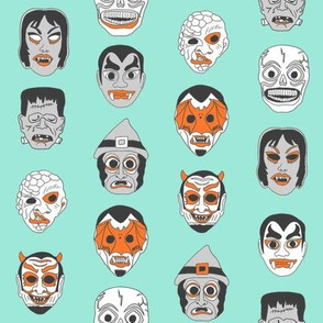 halloween masks // halloween black and orange, scary, spooky, - bright mint