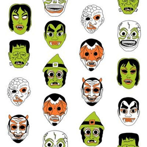 halloween masks // halloween black and orange, scary, spooky, - white