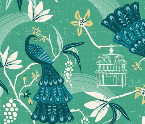 Aviary  - Peacock Chinoiserie Green Jumbo Scale fabric by heatherdutton on Spoonflower - custom fabric