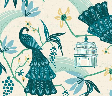 Aviary  - Peacock Chinoiserie Cream Jumbo Scale fabric by heatherdutton on Spoonflower - custom fabric