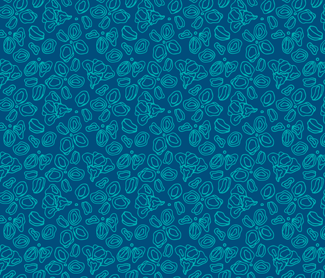 blue and blue flowers fabric by benjiloudesigns on Spoonflower - custom fabric