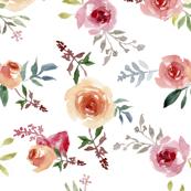 Peach Roses watercolor(102)
