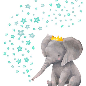 "27""x36"" Baby Elephant with Aqua and Teal Stars"