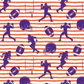 football medley - purple on orange stripes
